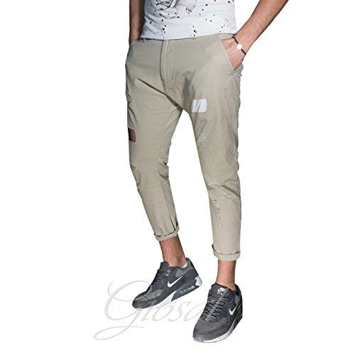 Pantalone Uomo Tasca America Tinta Unita Vari Colori Toppe Rotture Zip Casual GIOSAL Beige