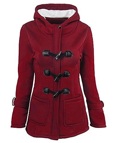 Damen Winterjacke Mantel Jacke Trenchcoat Outwear Mit Kapuze Weinrot M