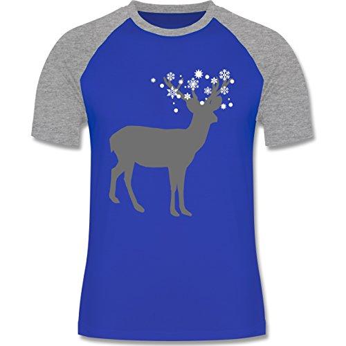 Weihnachten & Silvester - Rentier Schnee Eiskristalle - zweifarbiges Baseballshirt für Männer Royalblau/Grau meliert