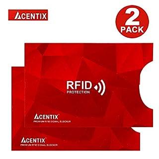 2 X ACENTIX Red RFID&NFC blockier Etui für Kreditkarten, Schutz vor Identitätsdiebstahl für Männer und Frauen, Perfekt für Brieftasche/Geldbörse geeignet