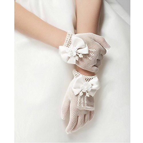 Uni-love Flower Girl Gloves White Ivory Lace Short Princess Gloves for Wedding (White)