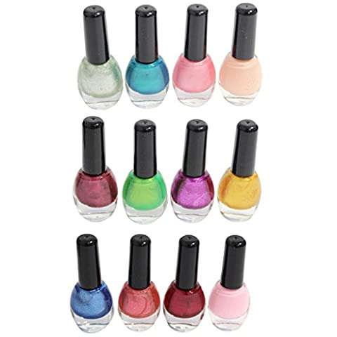 12 High Quality Assorted Mixed Colour Fashionable Metallic Matt Bold Nail Polishes Varnishes for Nail Art Set by Kurtzy TM
