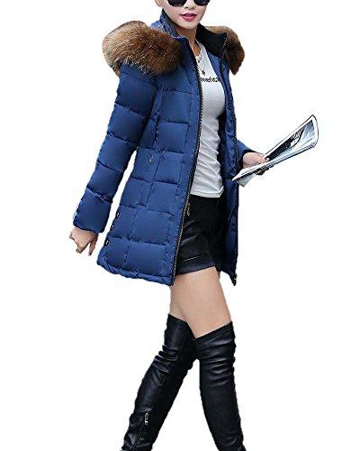 Donna Giubbino Imbottito Invernale Calda Giacca In Cappotto Blu M