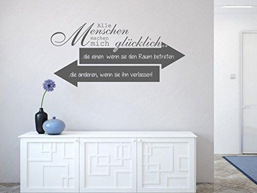 Wandtattoo-bilder® Wandtattoo Alle Menschen machen mich glücklich Nr 1 Büro Wanddeko Größe 80x38, Farbe Königsblau