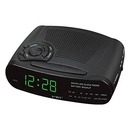 GJH Radio Despertador De 220 V con Pantalla LED Am/FM Digital con Repetición, Función De Respaldo De Batería,Green