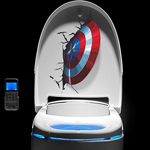 FangKuai FKAL0056 3D Vivid Captain America Schild durch Wand Aufkleber Kinder Räume Toilette Dekor The Avengers Wandaufkleber Kunst PVC-Wand Poster