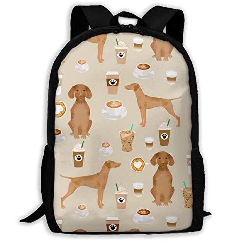 best& Vizsla Coffee Cafe Dog Pet Dog Adult Travel Backpack School Casual Daypack Oxford Outdoor Laptop Bag College Computer Shoulder Bags 11x17x6.3 Inch.