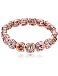 NEVI Czech Crystals Rose Gold Plated Strand Bracelet Jewellery for Women and Girls (Multi Colour)