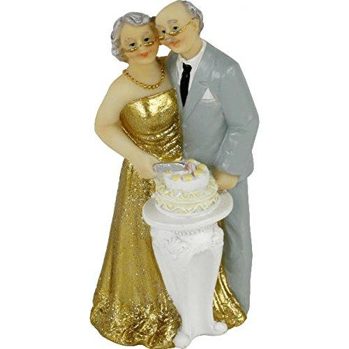 Kuchenaufsatz / Tortenaufsatz / Cake Topper / Tortenfigur 50 Jahre Brautpaar aus Polyresin - Goldene...