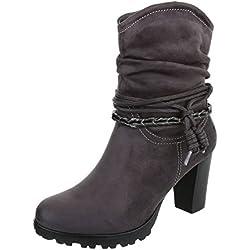 High Heel Stiefeletten Damen-Schuhe Schlupfstiefel Pump Western Style Reißverschluss Ital-Design Stiefeletten Grau, Gr 41, Zy9107-