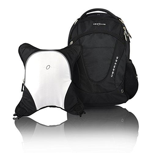 obersee-oslo-mochila-para-panales-con-bolsa-isotermica-separable-negro-y-blanco