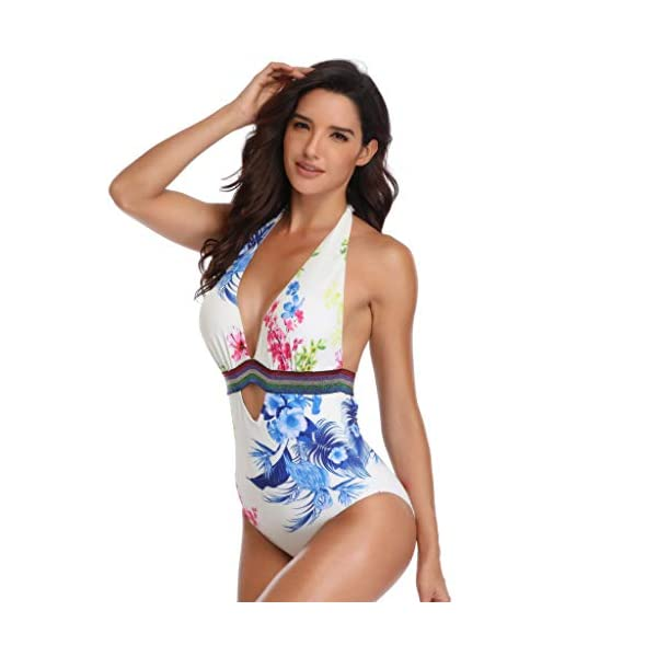 OVINEE Donne Costume Bagno Women Padded Sexy Lace-up Print Backless Bikini Halter One Piece Swimwear Donna Estate Push… 3 spesavip
