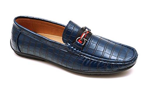 Ak collezioni mocassini uomo estivi blu casual eleganti scarpe man's shoes in ecopelle (41)