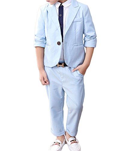 2 Stück Jungen Jacke+Lang Hose Anzug, Jungen Anzüge Hochzeit Passt, Jungen Anzug Festlich Himmel Blau XL