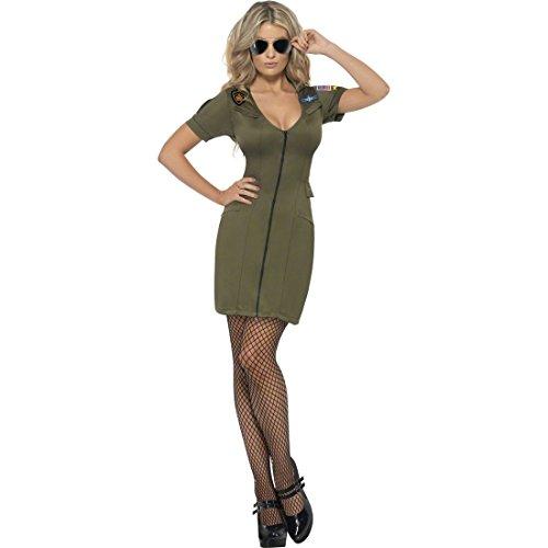 Top Gun Kids Kostüm - Top Gun Pilotin Kostüm Army Girl Uniform Grün M 40/42 Soldatinnen Kostüm Pilotinkostüm Armee Kleid