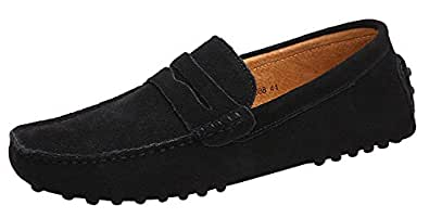 Men's Suede Leather Loafers Classic Slip Ons Buckle Casual Boat Shoes Mocassins Black EU 39