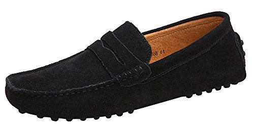 Men's Suede Leather Loafers Classic Slip Ons Buckle Casual Boat Shoes Mocassins...