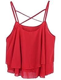 Rcool Moda Mujer Verano Irregular Correa Floral Print Chaleco Camisa Camisola de Gasa Top Tops