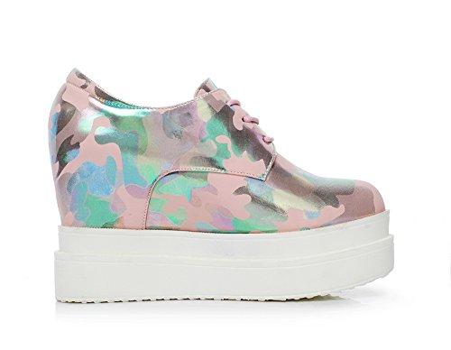 balamasa Femme Round-Toe couleurs assorties brevet en cuir pumps-shoes Rose - rose