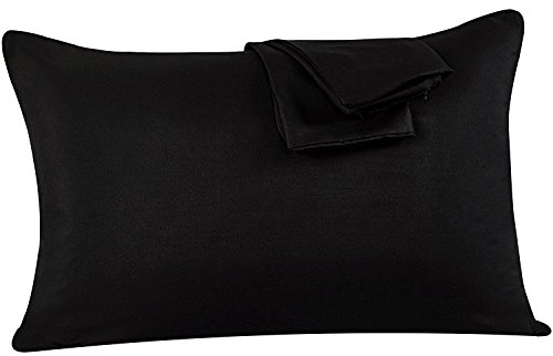 Fundas de almohada para camas de un par (50 x 75) cm, poliéster, negro