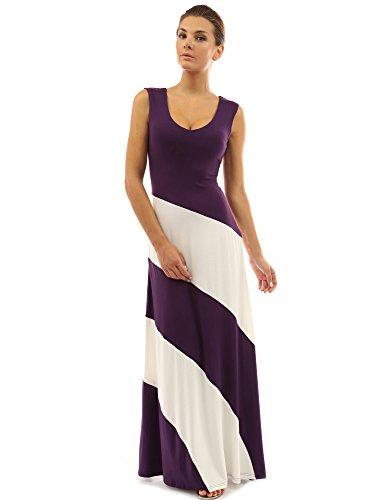 PattyBoutik femmes La maxi robe de plage à rayures d'un col V sans manches pourpre et blanc ivoire