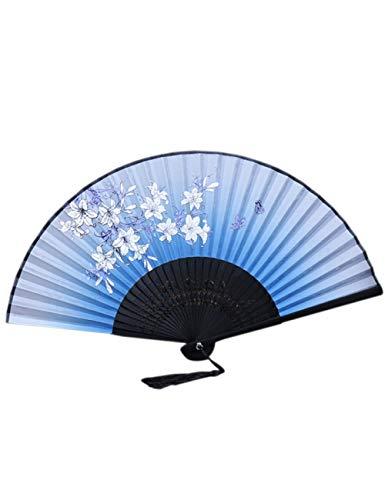 DSFH Fächer Faltfächer 1 Stücke Vintage Chinesische Seide Quaste Simulation Fan Garn Blumendruck Hand Fan Folding Hohl Carving Fan Kunsthandwerk