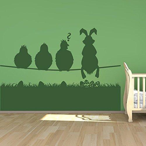 azutura Ostern Wandaufkleber Szene Häschen Vögel Wandtattoo Kinderläden Wohnkultur verfügbar in 5 Größen und 25 Farben Groß Ozean Blau (Wandtattoos Ozean-szenen)