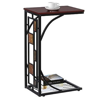 "tinkertonk Modern Living Room Sofa Side Table Iron Art Coffee Tables with Storage Shelf,12 x 8.3 x 21.3"" - cheap UK light store."