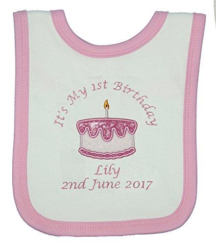 Awesome Baby Girls Personalised 1St Birthday Cake Bib Cake Smash White Personalised Birthday Cards Vishlily Jamesorg