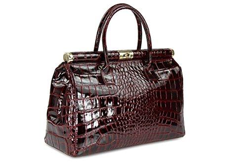 "Belli \""The Bag XXL Leder Henkeltasche Handtasche Damen Ledertasche Umhängetasche - Farbauswahl - 38x26x18 cm (B x H x T) (Bordeaux lack kroko)"
