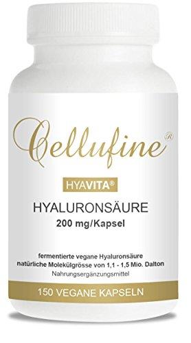 Cellufine HyaVita hochdosierte Hyaluronsäurkapseln zum Schlucken | vegan | 200mg Hyaluronsäure/Kapsel | 150 Kapseln | Anti-Aging