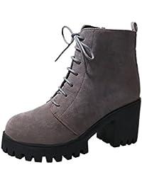 VogueZone009 Damen Ziehen auf Schließen Zehe Hoher Absatz Mitte-Spitze Stiefel mit Schnalle, Weiß, 37