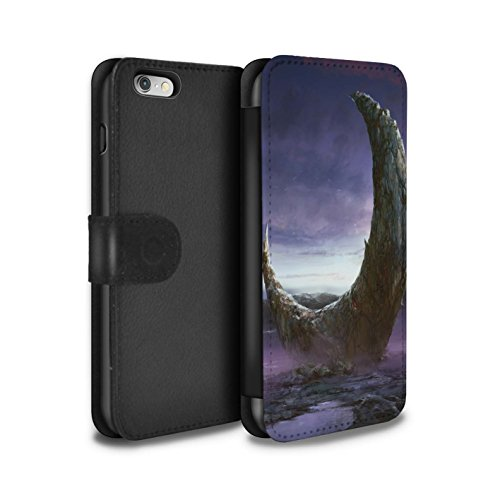 Offiziell Chris Cold PU-Leder Hülle/Case/Tasche/Cover für Apple iPhone 6S / Schmelzen Sonne Muster / Fremden Welt Kosmos Kollektion Zerbrochenen Mond