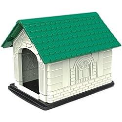 Caseta para perros Nobleza, de polipropileno con tejado a dos aguas verde y estructura blanca, alto 60 cm.