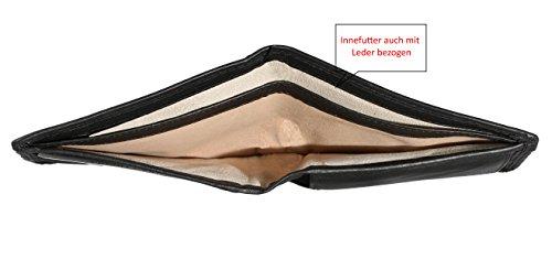 Pranke Herren Geldbörse Portemonnaie Echt Leder Brieftasche Portmonee in Querformat Extra Flach (Schwarz/Black) Schwarz/Black
