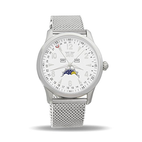 Davis 1501MB - Mens Moon Phase Watch Triple Date White Dial Mesh Milanese Strap