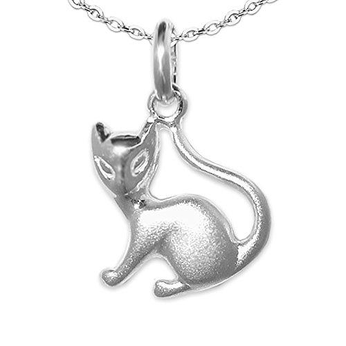 CLEVER SCHMUCK Set Silberner Anhänger kleine Siam Katze, beidseitig figürliche Form, matt und glänzend 12 x 12 mm und Kette Anker 45 cm STERLING SILBER 925 für Damen -