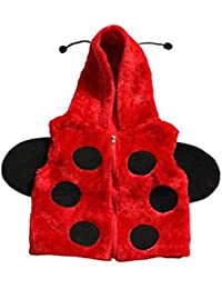 Children's Soft Feather Edge Fleece Hooded Ladybird Design Gilet/Body Warmer. (S/M)