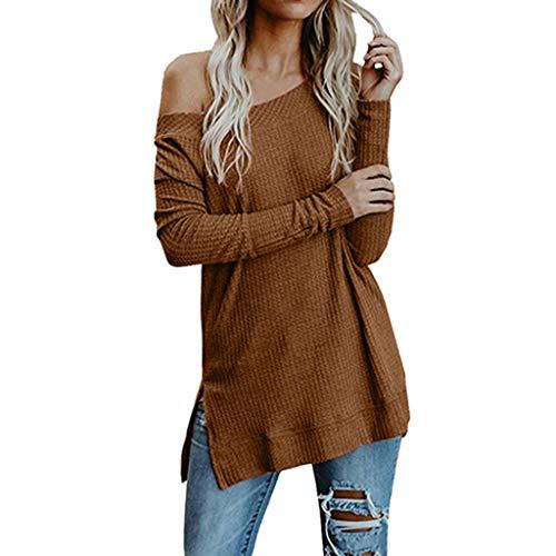 (iHENGH Vorweihnachtliche Karnevalsaktion Damen Herbst Winter Bequem Lässig Mode Frauen Herbst Winter Langarm Solide Strickpullover T-Shirt Bluse Tops)