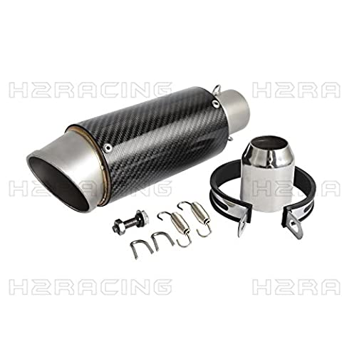 H2Racing 89MM * 270MM Carbon Fiber Color 38-51mm Slip-on Exhaust Muffler Pipe Universal for Dirt Bike,Street Bike,Scooter,ATV,Quad And Any Other (Exhaust Muffler Clamp)