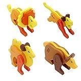 Hillento Holzpuzzles, Kinder Holz 3D Tier Stereo Puzzle, frühe Bildung geistigen Bausteine Spielzeug, Satz von 4 (Löwe, Tiger, Kamel, Bär)