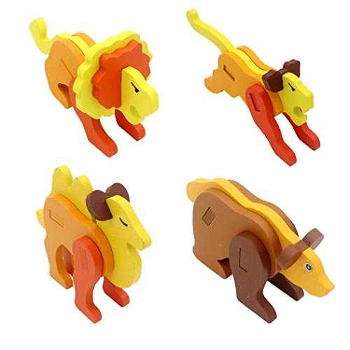 Hillento Rompecabezas de Madera, Rompecabezas de Madera de Animales en 3D estéreo Rompecabezas de los niños, Juego de 4 (león, el Tigre, el Camello, el Oso)