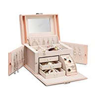 Vlando Mirrored Jewellery Organisers Box for Necklace Rings Earrings Watches Storage - Vintage Gift for for Girls Women (Pink)