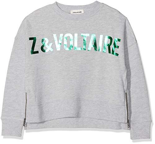 Zadig & Voltaire Sweatshirt Grau Mit Metallic Print Gruen Gr. 8 Jahre Metallic-print-sweatshirt