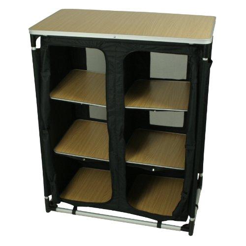 10T Cambox Multi Alu Campingschrank 85x50x105 cm Faltschrank mit Ablage-Platte Aluminium Zelt-Schrank mit 6 Fächern mobile Camping-Küche verschließbarer Reiseschrank mit Insektenschutz Türen & Belüftung