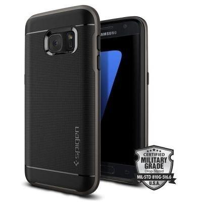 Samsung Galaxy S7 Hülle, Spigen® [Neo Hybrid] Dual-Layer Schutzrahmen [Gunmetal] Metallisierte tasten / Durchsichtige TPU Schale + PC Farbenrahmen Schutzhülle für Samsung S7 Case, Samsung S7 Cover - Gunmetal (555CS20141)