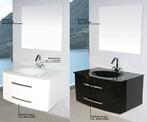 Lavandino Arredo Bagno.Mobile Arredo Bagno Da 80 Cm Sospeso Con Lavabo In Cristallo