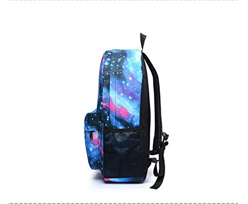 Dtcat Galaxy Pattern Uniex Mädchen Jungen Rucksack,Schwanz Sterne Rucksack,männliche und weibliche Studenten Rucksack @ Star blau,Canvas Freizeit Taschen Schultasche - Star Canvas-tasche