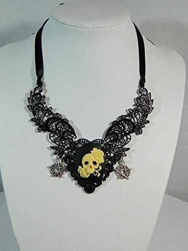 Filigrane Metall Kette schwarz Skull Schädel Gemme Camee Collier Gothic Steampunk