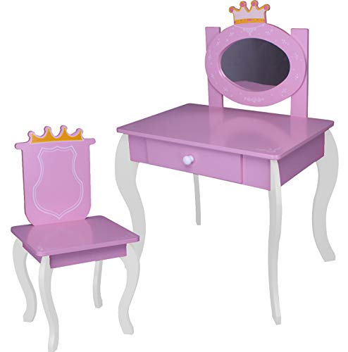 habeig #120 Prinzessin Kinder Schminktisch Frisiertisch & Hocker Holz rosa Kindersitzgruppe